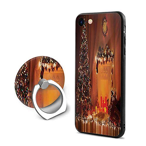 Christmas iPhone 7/iPhone 8 Cases,Romantic Xmas Room with Candles Presents Toys Fairy Festive Magical Picture Print Orange,Design Mobile Phone Shell Ring Bracket