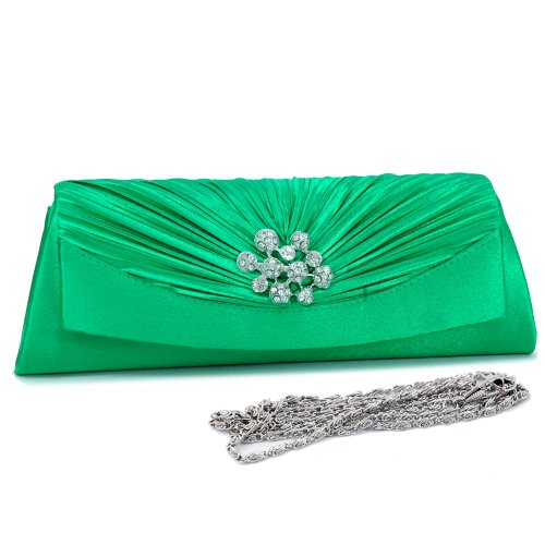 (Dasein Women's Pleated Flap Over Front Clutch Evening Purse Bag -Green)