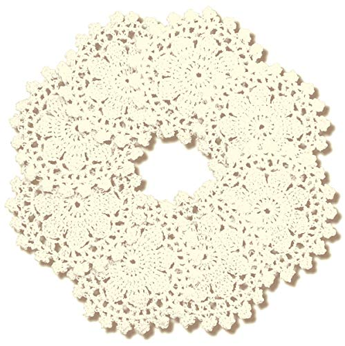 gracebuy Pack of 8PCS Beige 4 Inch Round Handmade Crochet Lace Placemats Coasters ()