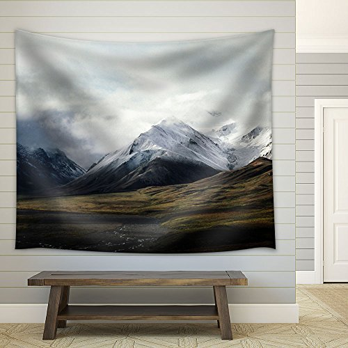 Snow Covered Mountains under Cloudy Sky Fabric Wall