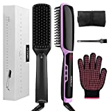 3 in 1 Ionic Hair Straightener Brush Ceramic Faster Heating Hair Straightening Irons Worldwide Voltage with Free Heat Resistant Glove Storage Bag and Cleaning Brush (Black)