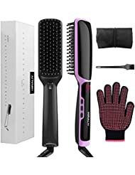 HIRALIY 3 in 1 Ionic Hair Straightening Brush Dual Voltage Ceramic Faster Heating with Heat Resistant Glove (Black)