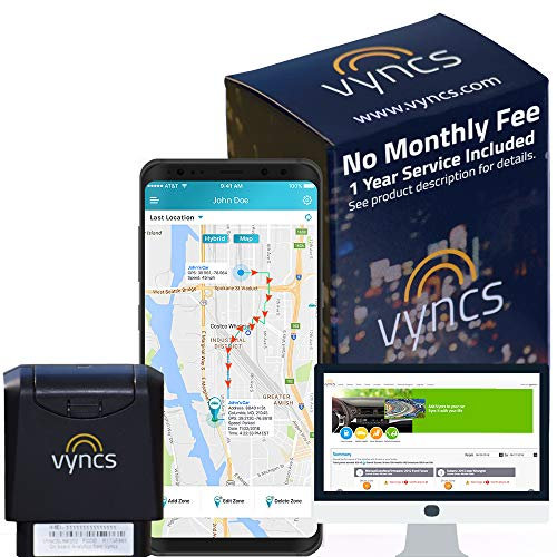 (GPS Tracker Vyncs No Monthly Fee OBD, Real Time 3G Car GPS Tracking Trips Free 1 Year Data Plan Teen Unsafe Driving Alert Engine Data Fleet Monitoring Fuel Report Optional Roadside (Black, 2.56))