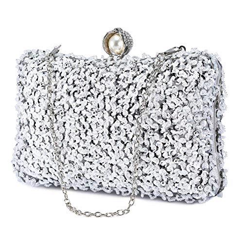 UBORSE Women Clutch Beaded Rhinestone Evening Bags Crystal Luxury Wedding Cocktail Party Purse Silver ()