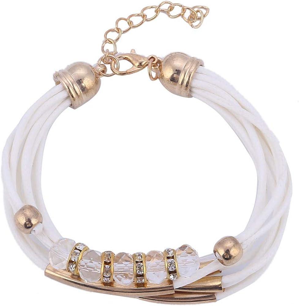 SWAOOS Pulsera al por Mayor de la joyería de la joyería Pulsera de Cuero para Las Mujeres Brazalete Europa Perlas encantos Pulsera de Oro