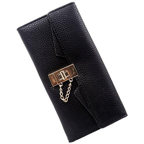 Women's Long Litchi Grain Leather Lock the Chain Card Holder Zipper Hand Bag Wallet