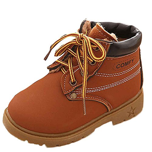 Toddler Baby Boys Girls Autumn Winter Martin Boots Shoes for 1-6 Years Old,Child Kids Solid Lace-Up Warm Sneakers (4.5-5 Years Old, Brown)]()