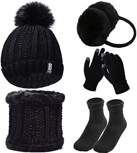 5 COMPUTER Winter Set Winter Knitted Hat Scarf Set Plush Ear Warmers Earmuffs Warm Knitted Scarf Beanie Hat with Touch Screen Gloves Winter Thermal Socks Hat for Outdoor Sports Winter Set