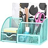 Exerz Mesh Desk Organizer Office with 7 Compartments + Drawer/Desk Tidy Candy/Pen Holder/Multifunctional Organizer EX348 Turquoise/Teal Color