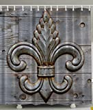 Antiques Fleur De Lis Home Decor Peacock Flower Lily Rusty Antiqued Wood Silver Medieval Door Bell French Saints Symbol Rustic Decorations for Bathroom Fashion Fabric Shower Curtain, Charcoal