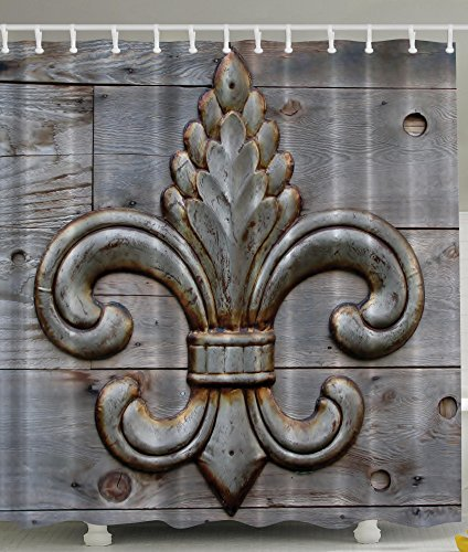 Fleur De Lis Shower Curtain Home Antiques Decor by Ambesonne, Peacock Flower Lily Rusty Antiqued Wood Silver Medieval Door Bell French Saints Symbol Rustic for Bathroom Fabric Shower Curtain, Charcoal (De Saints Fleur Lis)