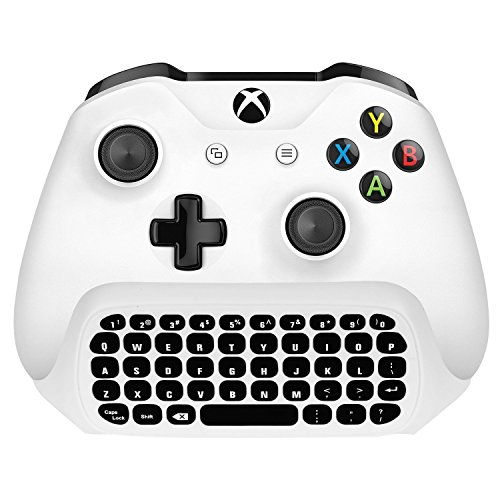 Xbox 360 Rock Skin (Megadream Xbox One Wireless Chatpad Keyboard with 3.5mm Audio Jack for Microsoft Xbox One, Xbox One Slim, Xbox One X, Xbox One Elite Controller – 2.4G USB Receiver & Charge Cable included - White)