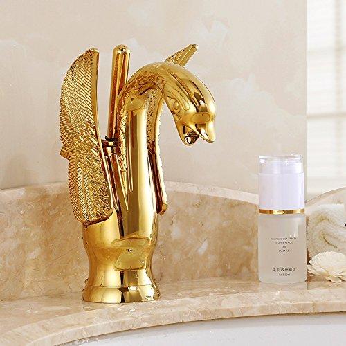 Aawang Waschbecken Armaturen Neues Design Swan Wasserhahn VerGoldeten Waschbecken Wasserhahn Hotel Luxury Kupfer Gold Mischbatterien Heiße Und Kalte Taps