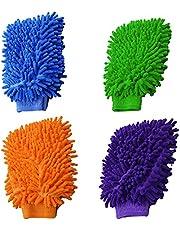 MONALA 4 Stks Auto Wash Handschoenen, Microfiber Car Wash Handschoenen voor Auto Reiniging en Huishouden Reiniging