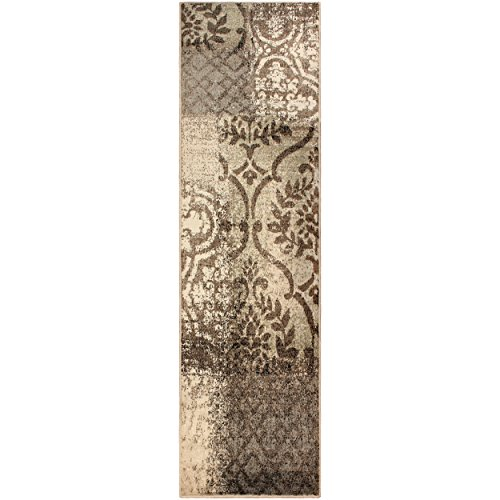 Superior Bristol Collection Area Rug, 8mm Pile Height with Jute Backing, Chic Geometric Damask Patchwork Design, Fashionable and Affordable Woven Rugs - 27 x 8 Runner, Beige & Brown