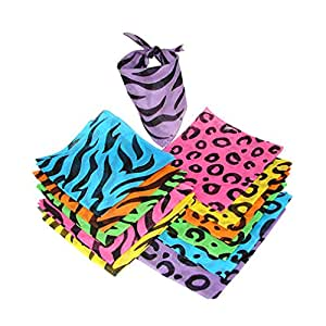 Fun Express Neon Animal Print Bandannas