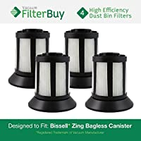 4 - FilterBuy Bissell Dirt Bin Compatible Filters. Designed by FilterBuy to replace part # 203-1532 (2031532). Fits Bissell Zing Bagless Canister Vacuum.
