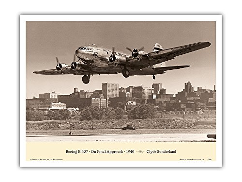 """The """"Zuni"""" (Boeing Stratoliner 307) - On Final Approach 1940 - TWA (Trans World Airlines) - Vintage Aviation Poster by Clyde Sunderland - Master Art Print - 9in x 12in ()"""
