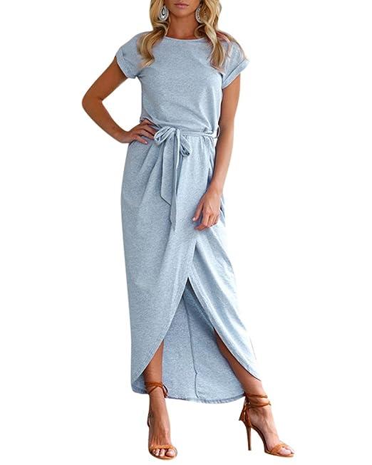 Vestidos Largos Mujer Cuello Redondo Vestidos de Noche Elegante Irregular Vestido de Fiesta Azul Claro S