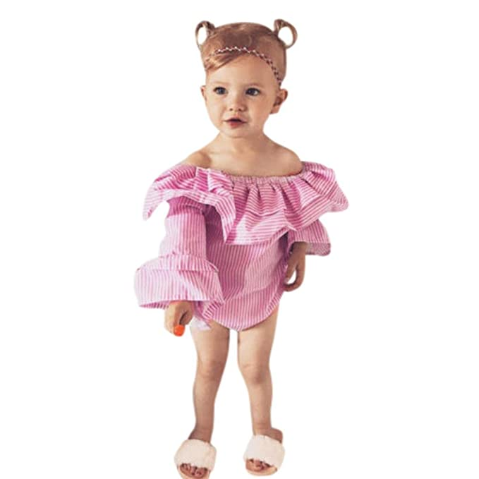 a96f159019 Yannerr Bebé niña hombros marcados rayas fiesta princesa vestido camiseta  tops sudadera Recién nacido manga trompeta
