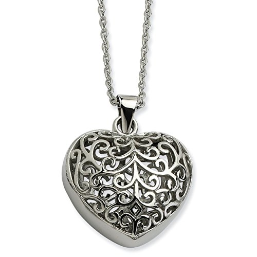 Chisel Stainless Steel Filigree Puffed Heart Pendant Necklace 22