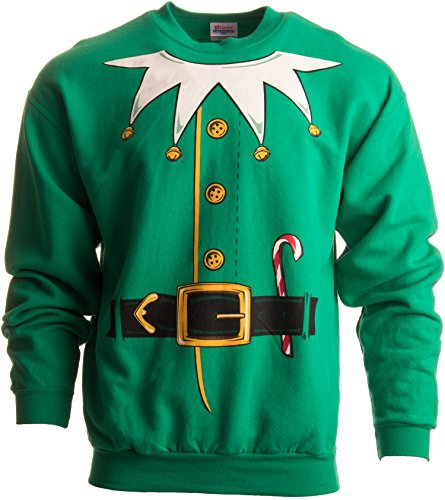 Santa's Elf Costume | Novelty Christmas Sweater, Holiday Crewneck Sweatshirt - (Crew,S) Green