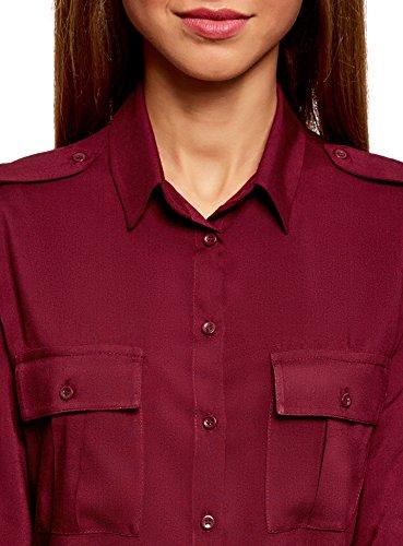 oodji Ultra Mujer Blusa Básica de Viscosa con Bolsillos en el Pecho Rojo (4900N)