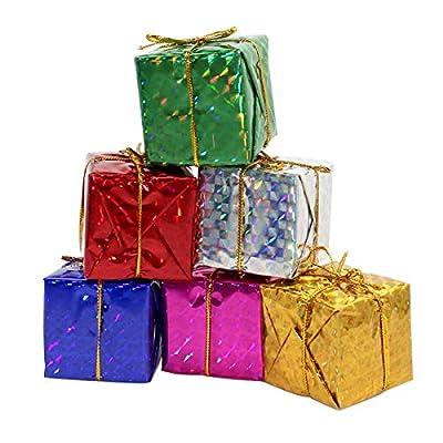 Gift Boxes Assorted Colors Miniature 2 Inches Fonxian 24pcs Foil Christmas Decoration Ornaments