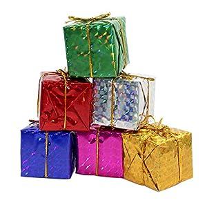 Gift Boxes Assorted Colors Miniature 2 Inches Fonxian 24pcs Foil Christmas Decoration Ornaments 91