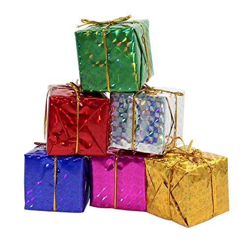 Colors Miniature 2 Inches Fonxian 24pcs Foil Christmas Decoration Ornaments (Gift Box Christmas Ornament)