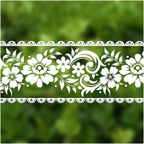 VEELIKE Lace Border Window Sticker Transparent White Removable Peel and Stick Wallpaper -