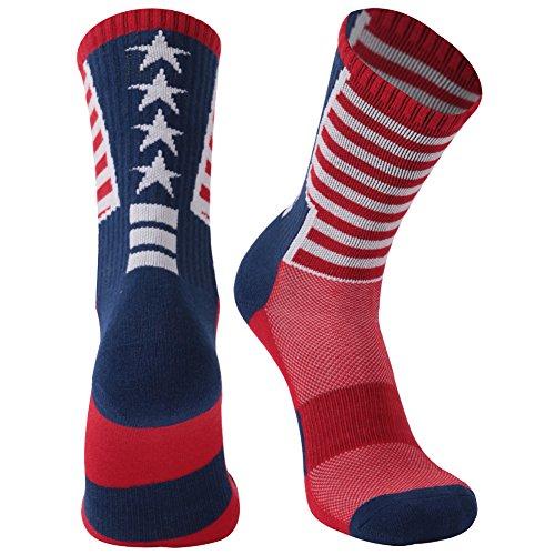 Adult Novelty Mid-calf Socks, Gmark Women's USA Flag Socks-Independence Day-Stars&Stripes Design-Celebrate America 1-Pair (One Star Mid Top)