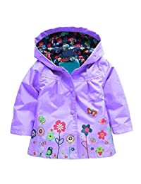 Arshiner Little Girls' Waterproof Hooded Coat Jacket Outwear Raincoat