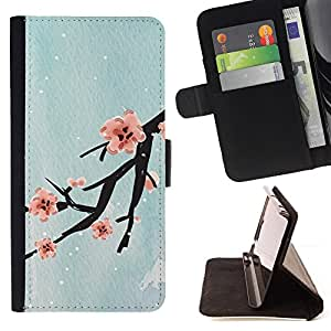 Design Cherry Blossom - Painting Art Smile Face Style Design PU Leather Flip Stand Case Cover FOR Samsung Galaxy S6 EDGE @ The Smurfs