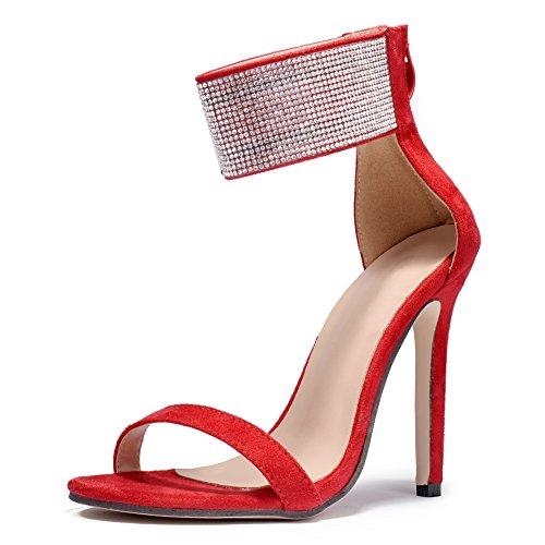 Fereshte Mujeres Sexy Simple Gamuza Tobillo Correa Diamante Stiletto Tacones Altos Sandalias Cremallera Roja