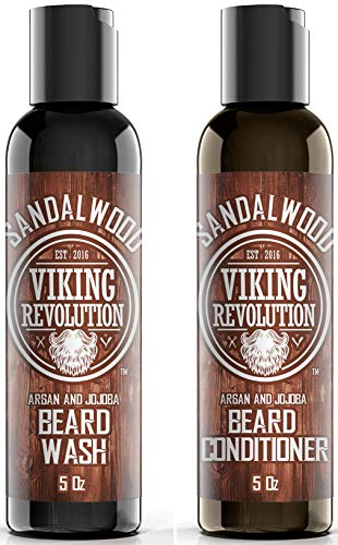 Beard Wash & Beard Conditioner Set w/Argan & Jojoba Oils - Softens & Strengthens - Natural Sandalwood Scent - Beard Shampoo w/Beard Oil (5oz)