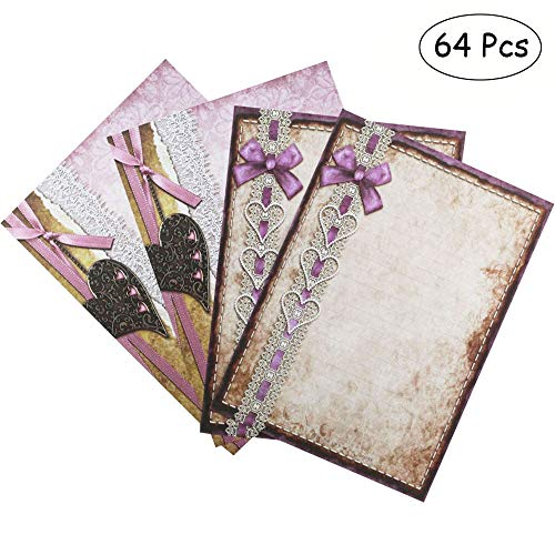 Bolbove 64 Pcs Retro Heart Lace Lovely Bowknot Letter Writing Stationery Paper, 2 Patterns, Purple ()