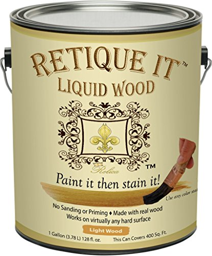 Retique It - Liquid Wood - Gallon Light Wood - Put a finished wood finish on ANY surface - Paint it then Stain it - Made out of Real Wood - (Light Wood - 128 oz Gallon) by Renaissance Furniture Paint