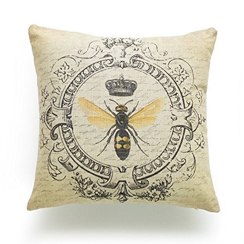 Hofdeco Decorative Throw Pillow Cover HEAVY WEIGHT Cotton Linen French Country Modern Queen Bee 18