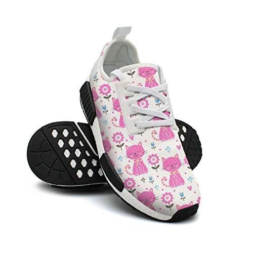 Cats Sneaker with Walking Mesh Lightweight Flowers Fashion Shoes Breathable FAAERD Womens Pink Simple fqOAAT