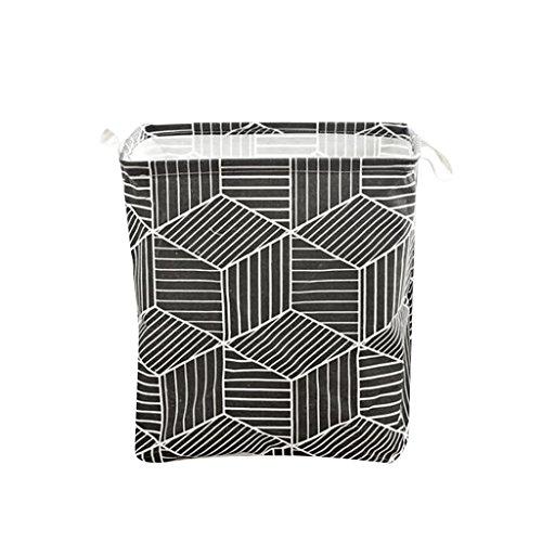 B Blesiya NEW Prismatic Reuse Basket Bin Nursery Hamper Storage Bin,Cotton&Linen,for Home,Office,Bedroom,Toys - Black by B Blesiya