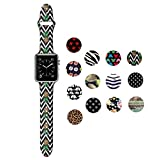 Dsigo Replacement Band for Apple Watch 38mm Series 3 Series 2 Series 1 S/M M/L, Strap Bands for iwatch, Silicone Sport Style Wristband, Personalized Design Black Chevron Pineapple