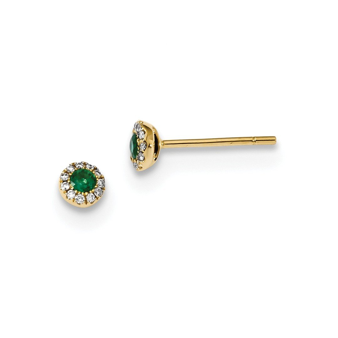 ICE CARATS 14k Yellow Gold Diamond Green Emerald Post Stud Ball Button Earrings Fine Jewelry Ideal Mothers Day Gifts For Mom Women Gift Set From Heart