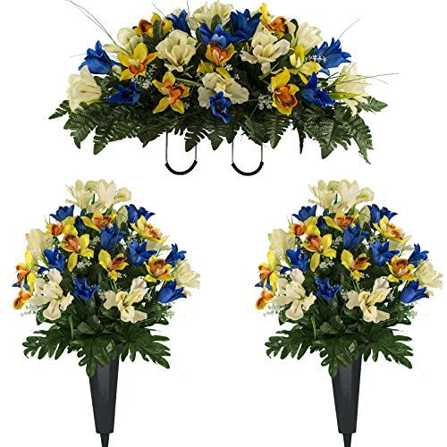 (Sympathy Silks Artificial Cemetery Flowers - Realistic Vibrant Tulips, Outdoor Grave Decorations - Non-Bleed Colors, and Easy Fit - Two Blue Yellow Tulip Bouquets and One Blue Yellow Tulip Saddle )