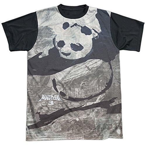 Trevco Men's Kung Fu Panda Sublimated T-Shirt, White, Medium