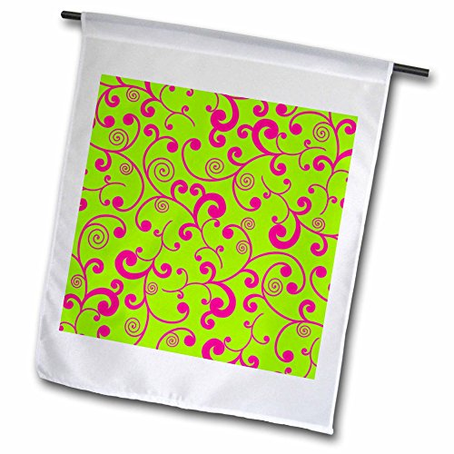 3dRose fl_110744_1 Elegant Lime Green and Pink Scroll Design Garden Flag, 12 by 18-Inch