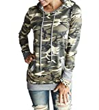 Aichatan Konater Women's Camouflage Print Pullover Hooded Sweatshirt L