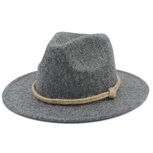 Battle Men Women's Retro Wool Felt Hat Men's Wide Brim Fedora Hemp Rope Decor ( Color : 4 , Size : 57-58CM )