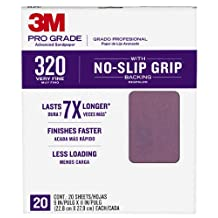 3M Pro Grade NO-Slip Grip Advanced Sandpaper, 9-Inch x 11-Inch Sheet, 20-Count, ( 26320CP-5-G)