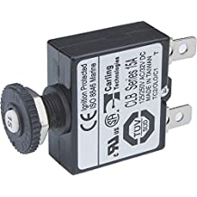 Blue Sea Systems Push Button Reset Only Quick Connect 15A Circuit Breaker